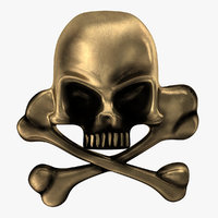 skull bones pirate pin model