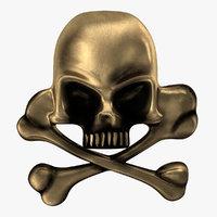 Skull and Bones Pirate Pin 3D Model