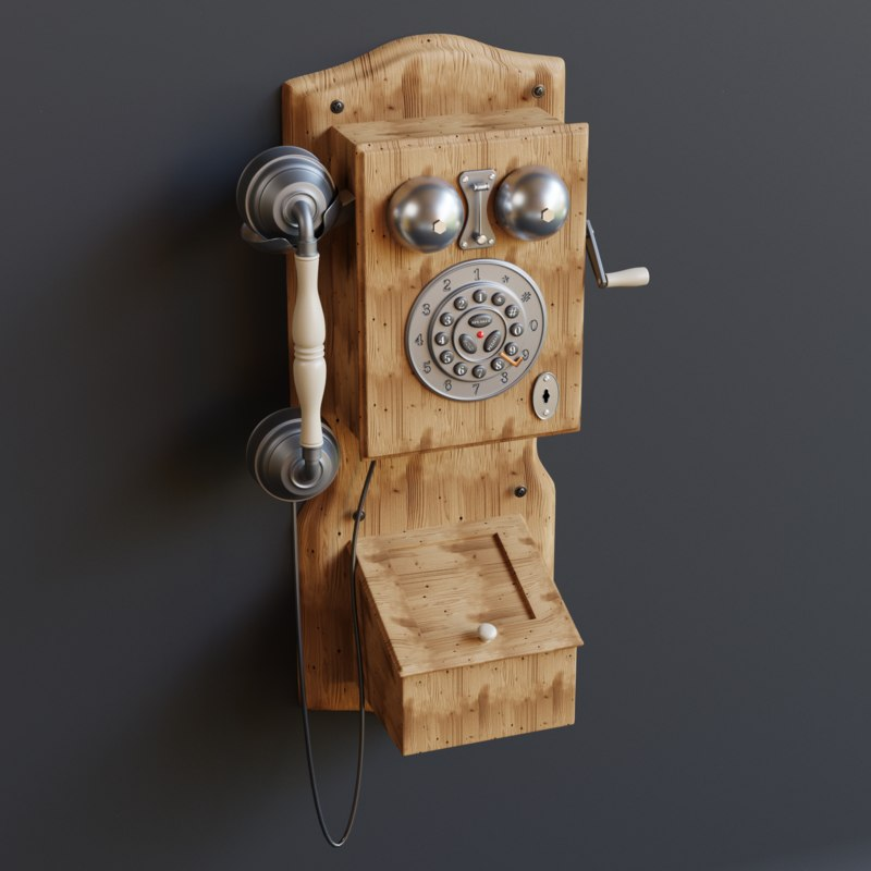 antique wall telephone 3D model