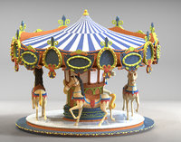 This Carousel is a high quality model. The model has a fully textured design that allows for close-up renders, and was originally modeled in 3ds Max 2012 and rendered with V-Ray.
