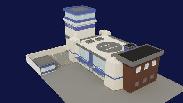 blue police station 3D model