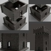 3D moduler castle tower model