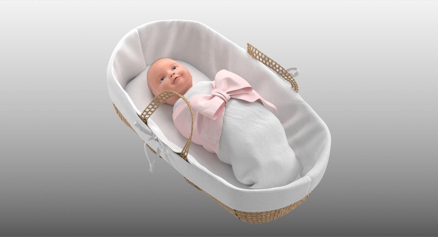 3D model realistic baby basket