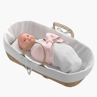 3D model realistic baby basket