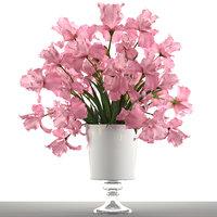 3D bouquet pink flowers
