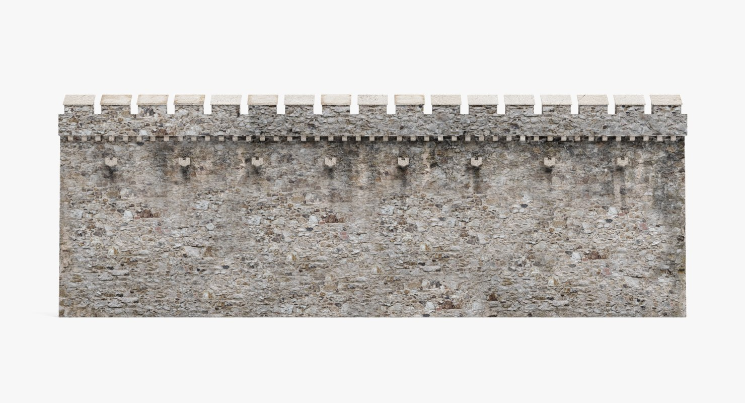 3D medieval wall model