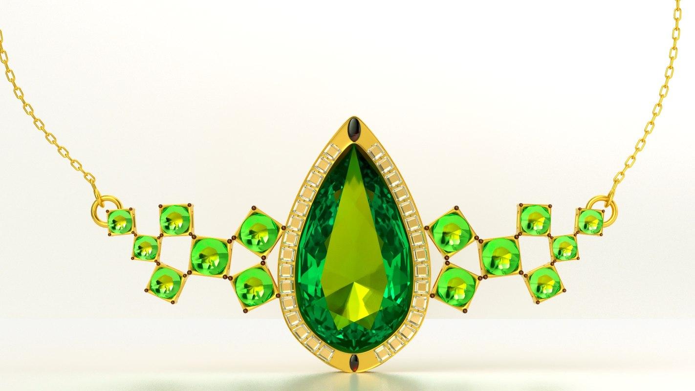 golden necklace 3D