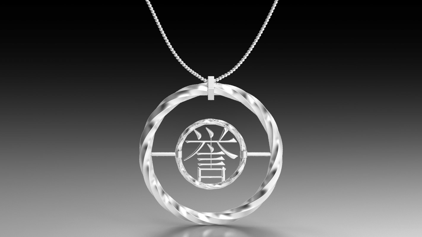 3D silver necklace honor model