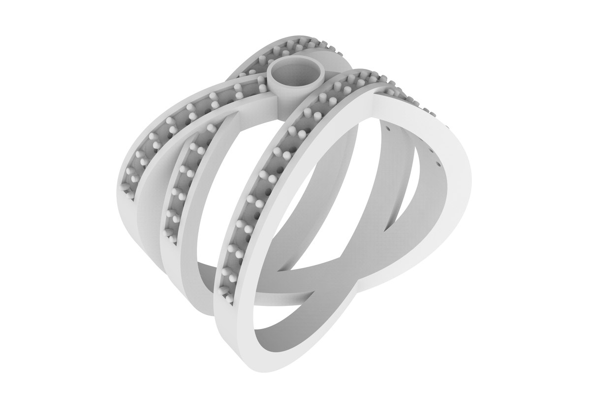 fashionable women ring stones 3D
