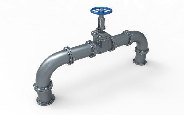 gate valve pipes 3D model