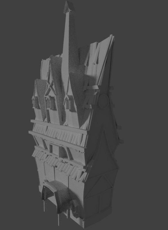 3D house village model