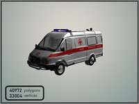 gaz gazelle ambulance 3D model