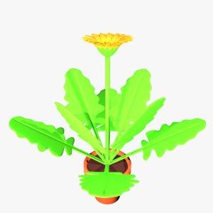 gerbera flower pot 3D model
