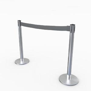 airport stanchions metal short 3D model