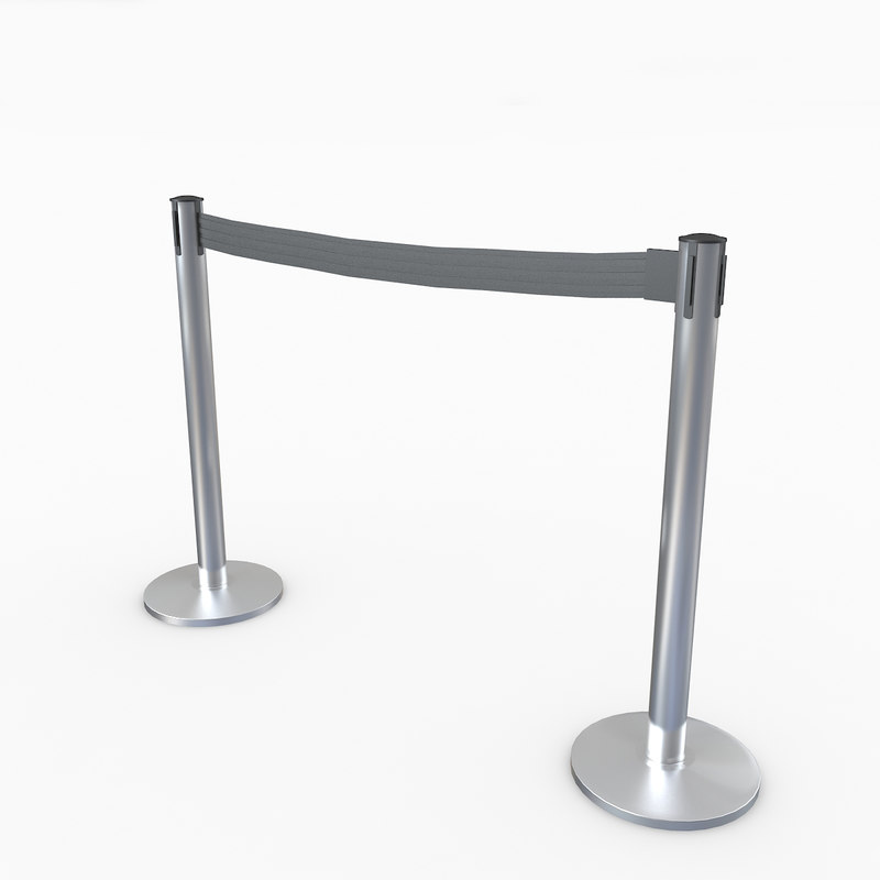 airport stanchions metal short 3D model