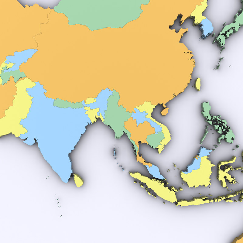 Map Of Asia 3d.Map Of Asia And Oceania