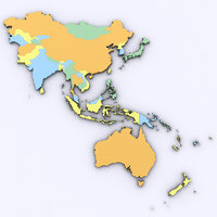 Map of Asia and Oceania