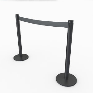 3D airport stanchions black short