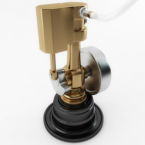 3D model miniature wobble steam engine
