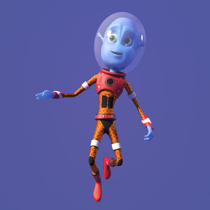cartoon alien kid 3D model