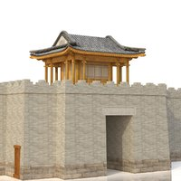 3D chinese city river gate