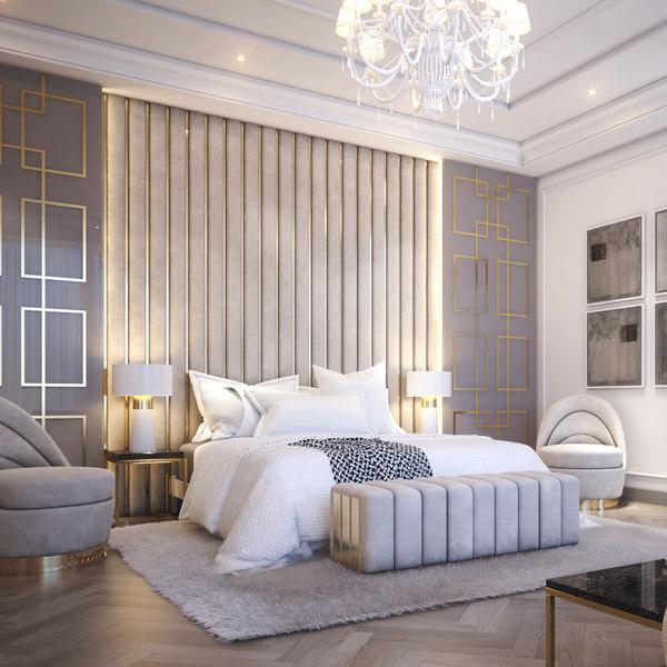 3D contemporary bedroom scene