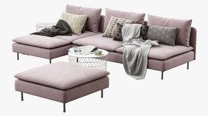 3D ikea soderhamn sofa sectionals model