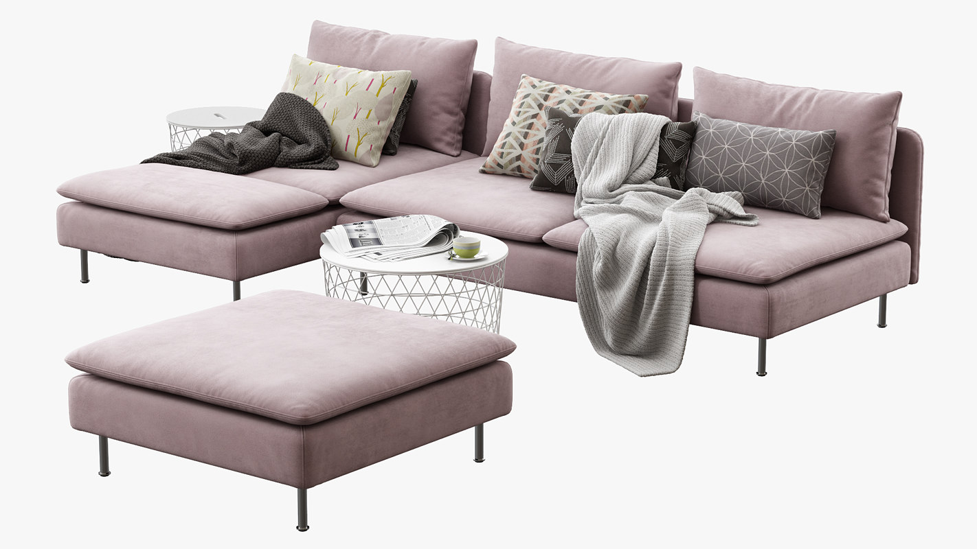 3D ikea soderhamn sofa sectionals model