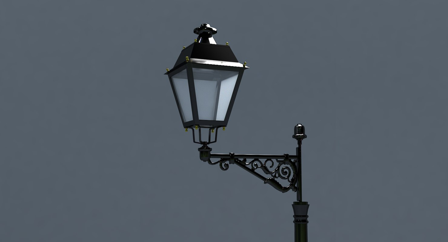 3D street lamp set low-poly model