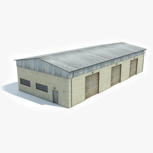 ready industrial building warehouse 3D model