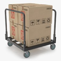 industrial cart cardboard boxes 3D model
