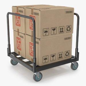 industrial cart cardboard boxes 3D model