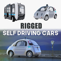 Rigged Self Driving Cars Collection