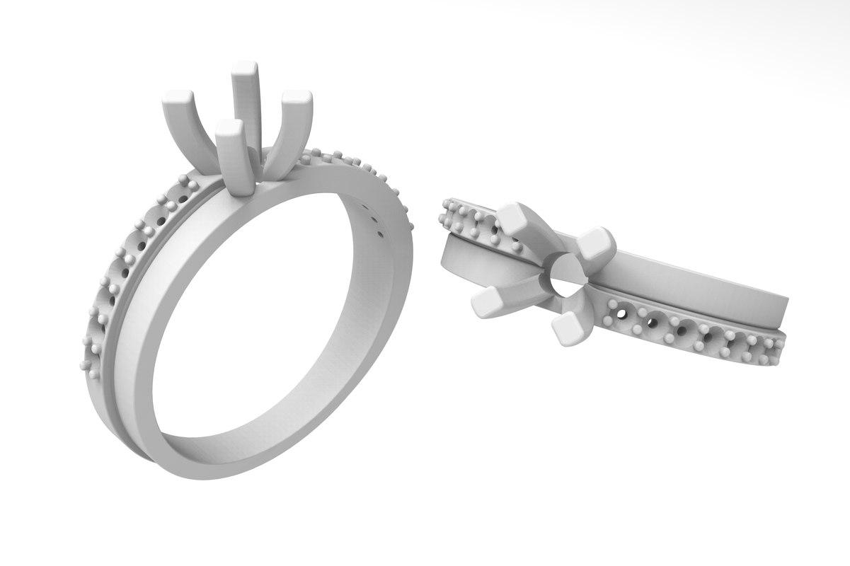 women ring stones 3D model