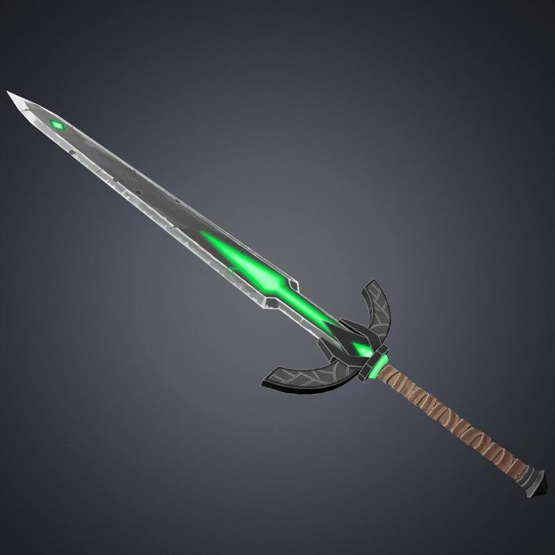 medival fantasy sword diffuse 3D model