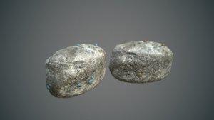 gold mineral rock 3D