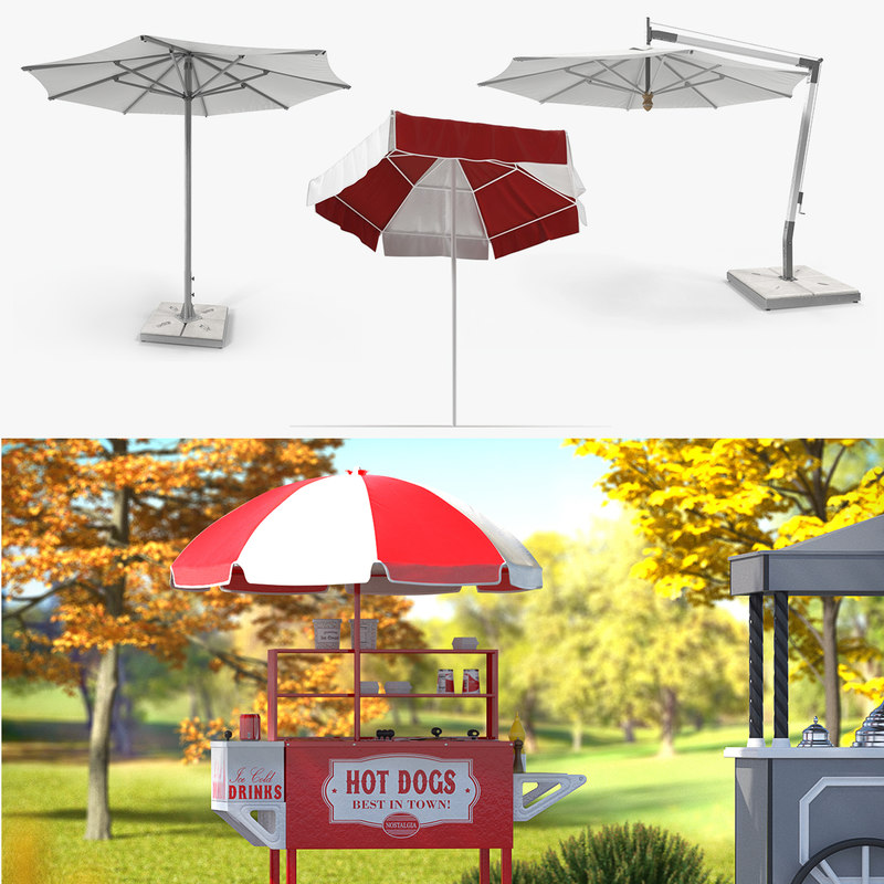 3D patio umbrellas 2 model