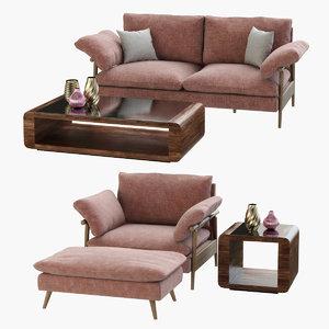 sofa hoxton table penthouse 3D model
