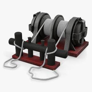 mooring bollard ship ropes 3D