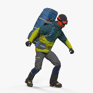 3D man traveler backpack rigged model