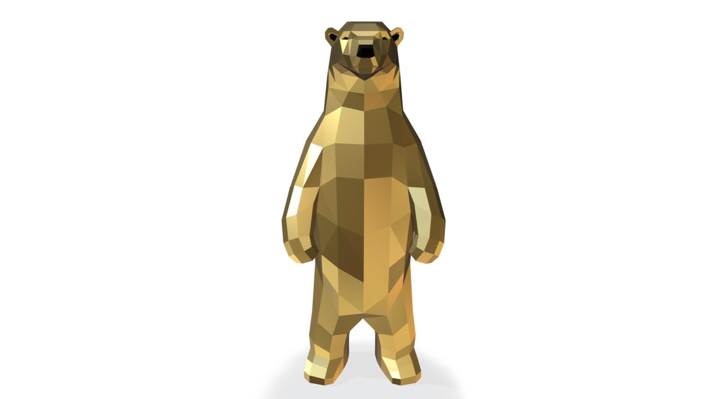 3D low-poly bear print model