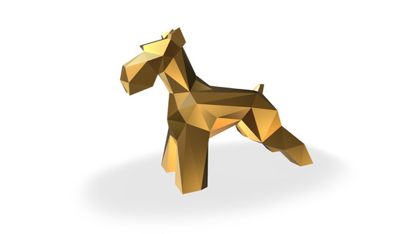 3D schnauzer dog figure print model