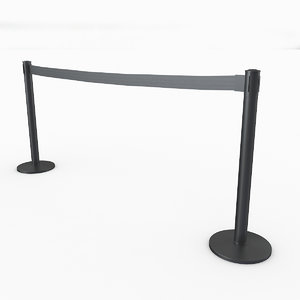 3D airport stanchions black long