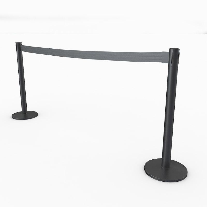 3D airport stanchions black long