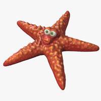 cartoon starfish rigged star 3D model