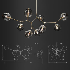 branching bubble 9 lamps 3D model