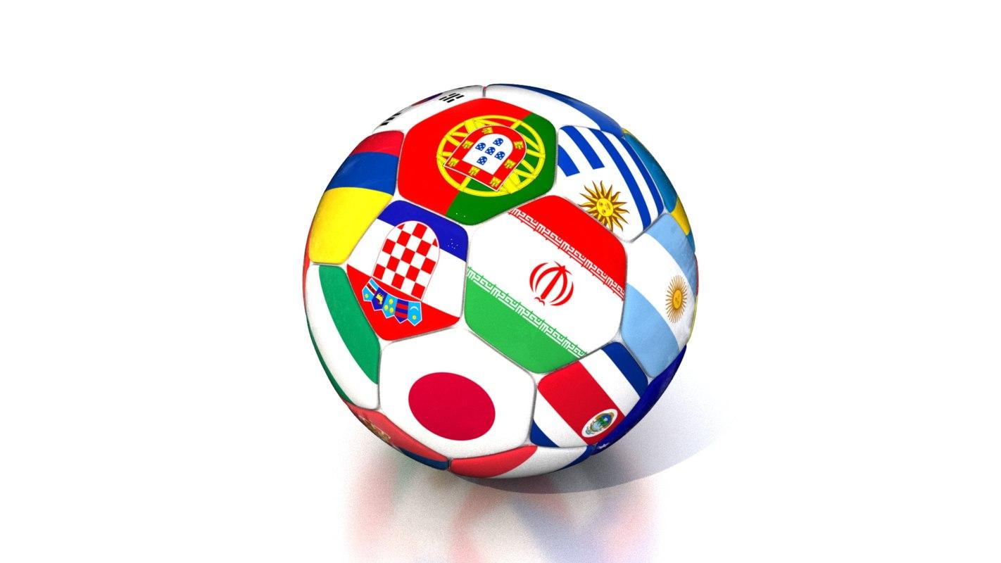 3D soccer ball 2018 model