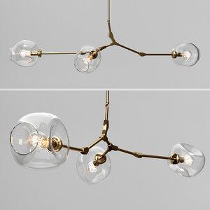 3D model branching bubble 3 lamps