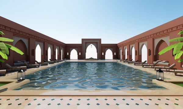 3D traditional moroccan pool marrakech model