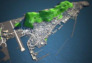 3D gibraltar lowres skyline model